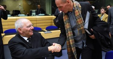 Greek Finance minister Yanis Varoufakis (R) shakes hands with German Finance Minister Wolfgang Schauble during an emergency Eurogroup finance ministers meeting at the European Council in Brussels on February 11, 2015. Proposals by the new government in Athens to renegotiate the terms of its massive international bailout are scheduled to be discussed by eurozone finance ministers in Brussels on February 11 and 12. AFP PHOTO / EMMANUEL DUNAND        (Photo credit should read EMMANUEL DUNAND/AFP/Getty Images)